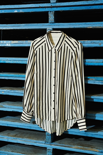 Shirts | Striped Blouson Sleeve Shirt