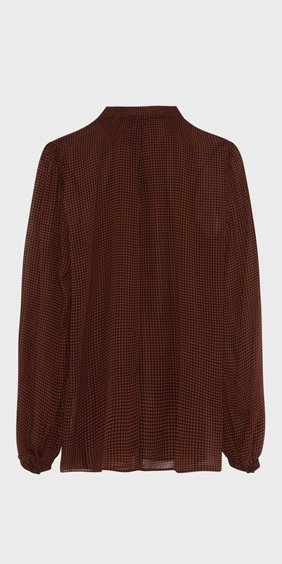 Sale  | Houndstooth Draped Neck Blouse