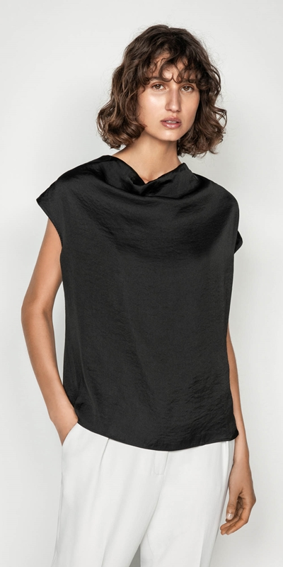 Tops  | Satin Cowl Neck Top