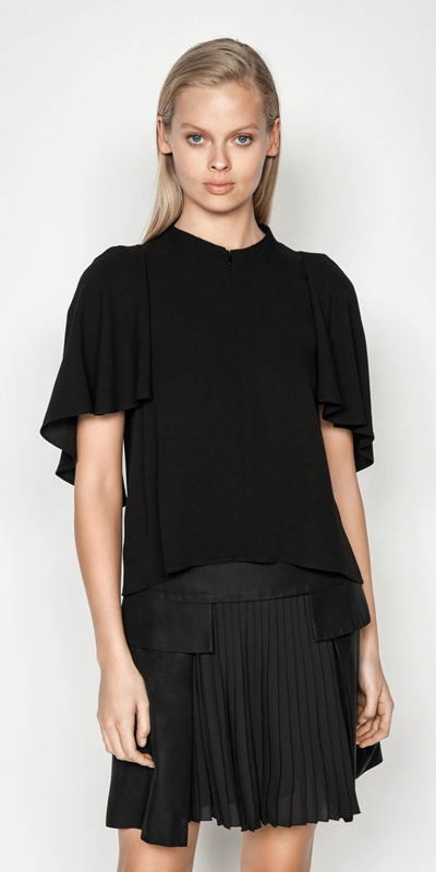 Tops | Funnel Neck Cape Sleeve Top