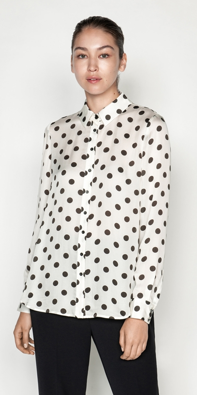 Shirts  | Satin Spot Blouse
