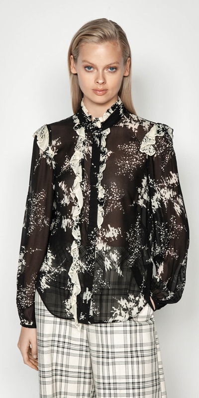 Shirts | Abstract Floral Viscose Victorian Blouse