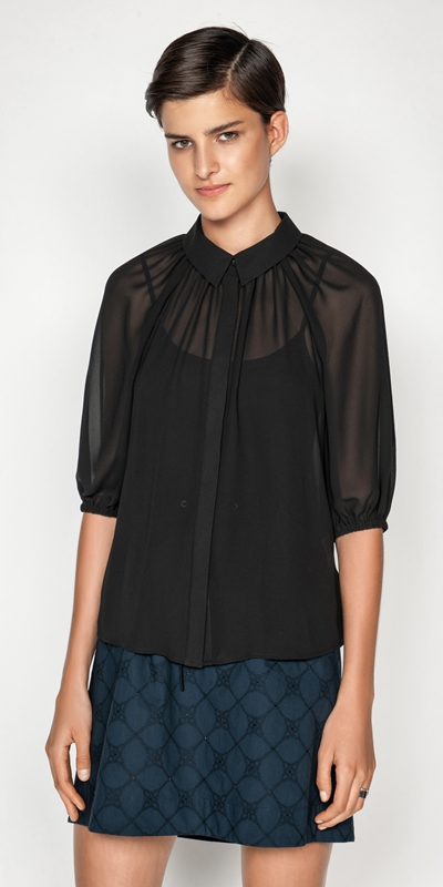 Shirts  | Georgette Bubble Sleeve Top