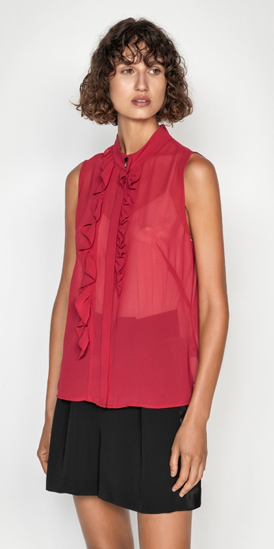 Tops  | Frilled Stand Collar Blouse
