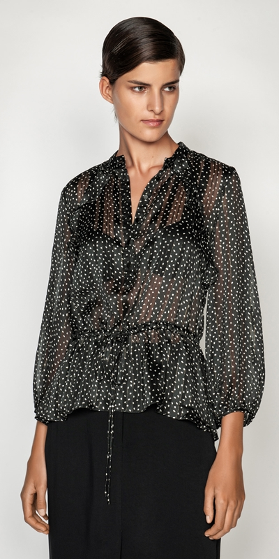 Shirts  | Lurex Spot Ruched Waist Blouse