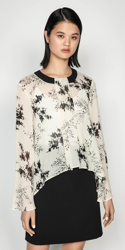 Shirts  | Abstract Floral Kimono Sleeve Top