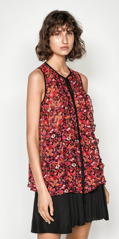 Shirts  | Berry Floral  Viscose Ruffle Top