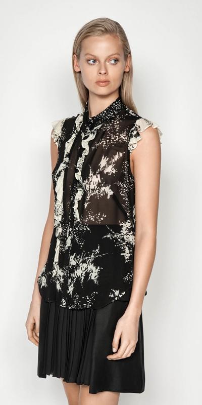 Shirts | Abstract Floral Viscose Ruffle Top