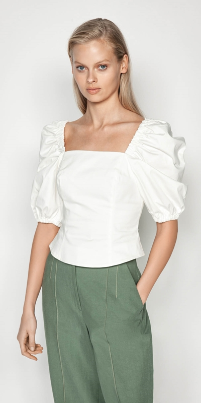 Shirts | Cotton Puff Sleeve Bustier