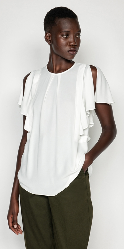 Shirts | Georgette Frilled Sleeve Top