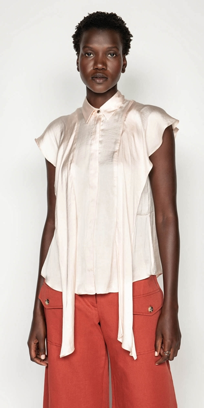 Tops  | Frilled Sleeve Button Front Top