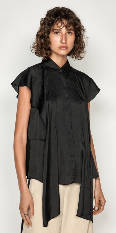 Sale  | Frilled Sleeve Button Front Top