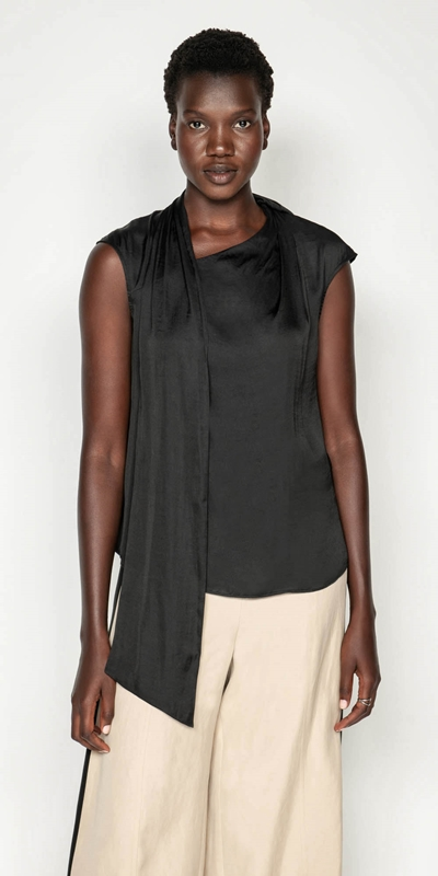 Shirts | Satin Draped Neck Top