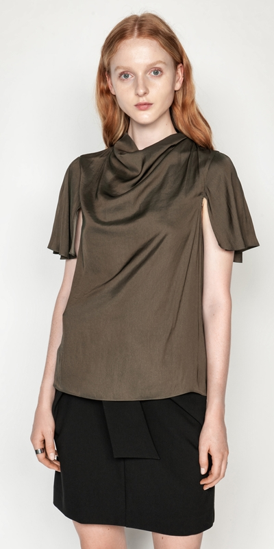 Cue Cares - Sustainable  | Drapey Satin Cowl Neck Top