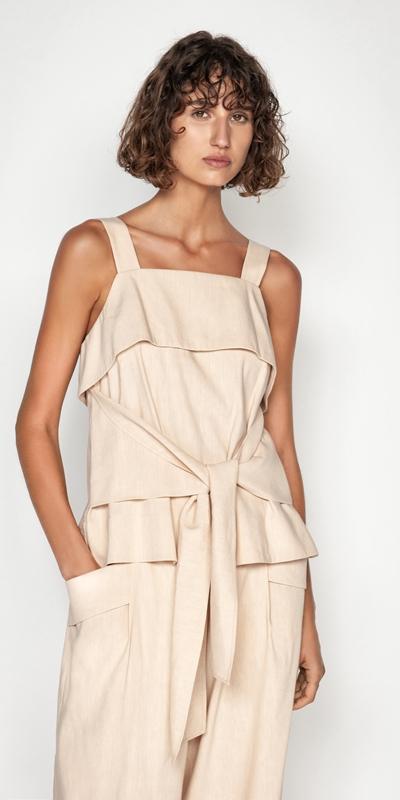 Sale  | Linen Tie Waist Top