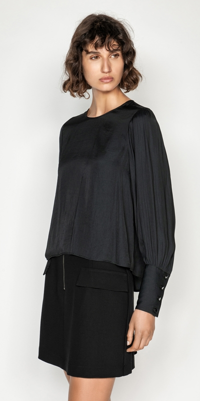 Cue Cares - Sustainable  | Satin Blouson Sleeve Blouse