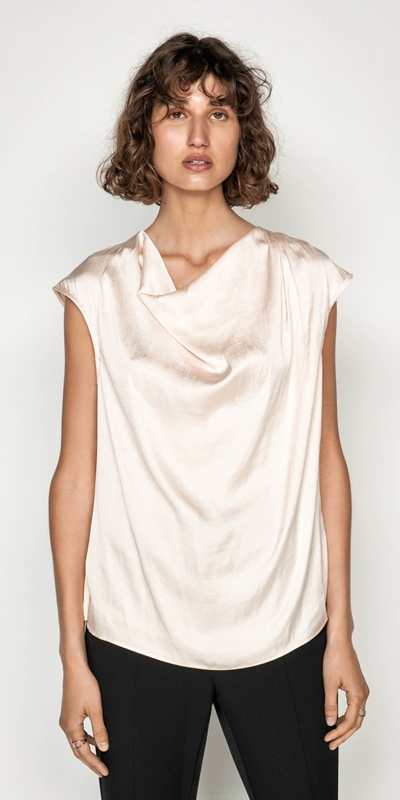 Shirts  | Satin Cowl Neck Top
