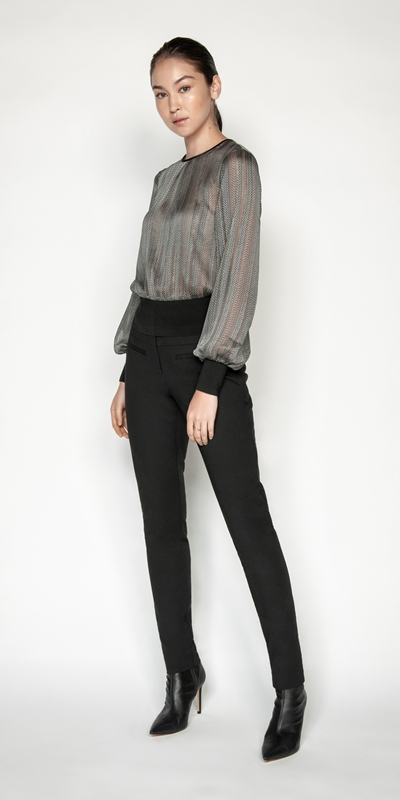 Shirts | Herringbone Blouson Sleeve Blouse