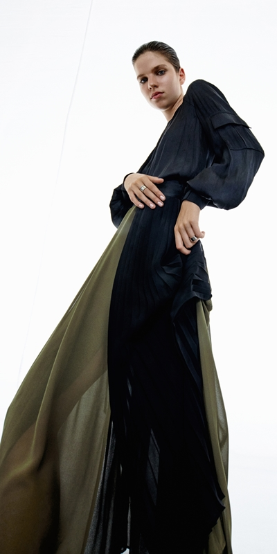 Tops  | Drapey Satin Hooded Utility Top