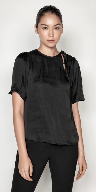 Tops  | Draped Satin Ruched Shoulder Top