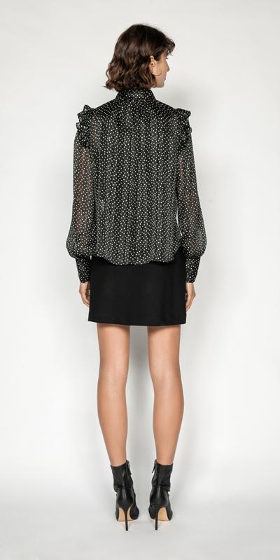 Tops | Lurex Spot Blouson Sleeve Shirt