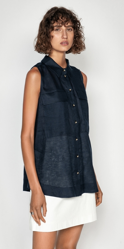 Shirts  | Linen Sleeveless Shirt