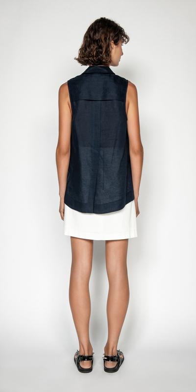 Shirts | Linen Sleeveless Shirt