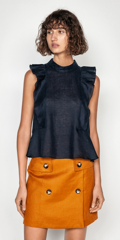 Tops  | Linen Frilled Sleeveless Top