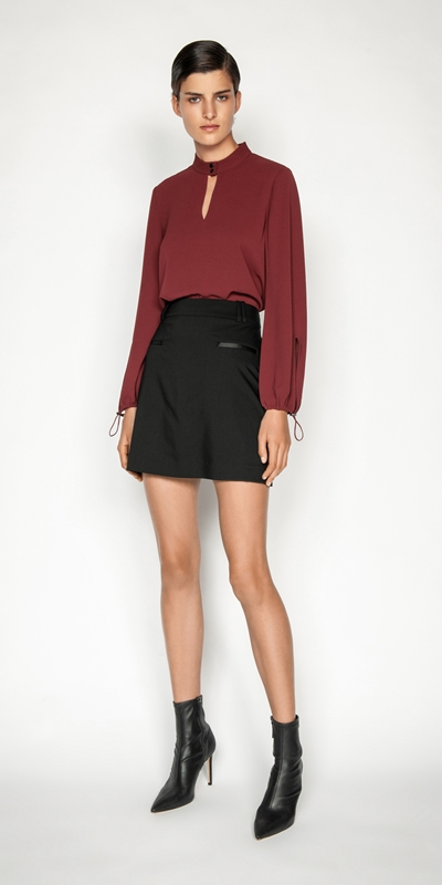 Tops and Shirts | Crinkle Georgette Keyhole Top