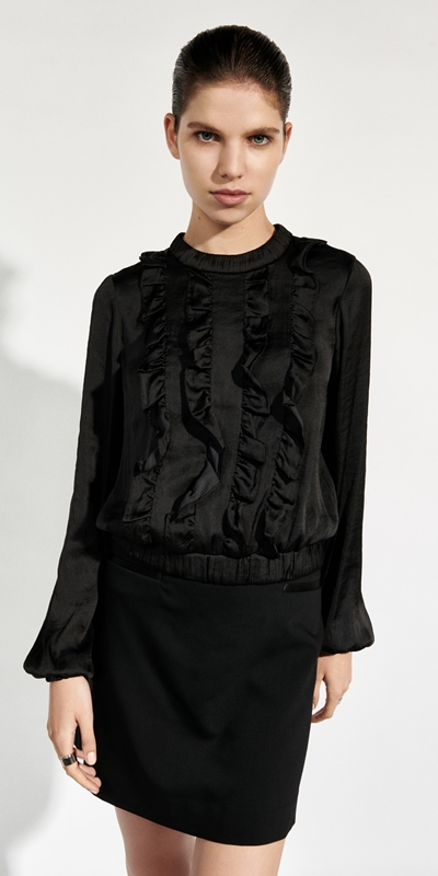 Tops and Shirts  | Satin Cropped Frill Top