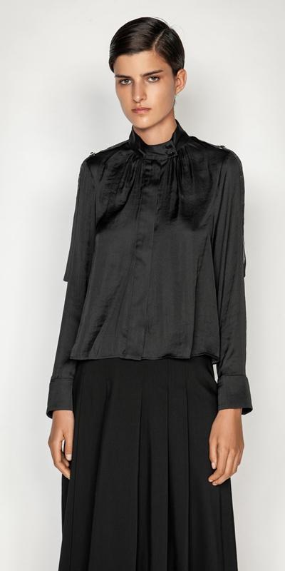 Tops and Shirts  | Satin Stand Collar Top
