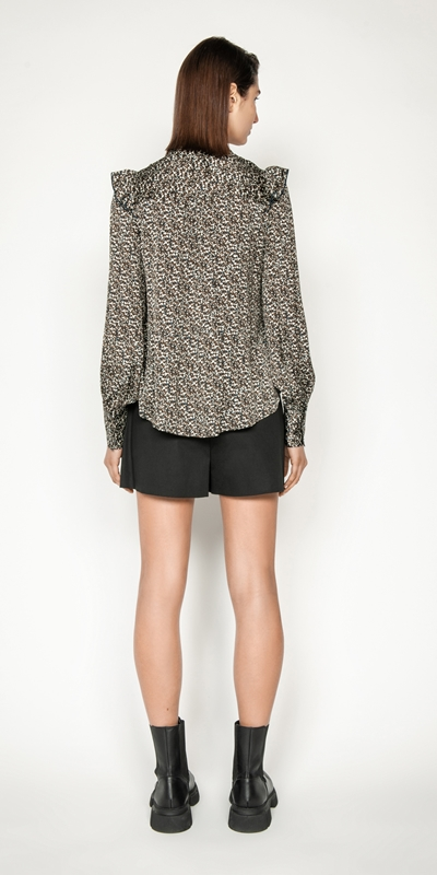 Tops and Shirts   Spot Blouson Sleeve Blouse