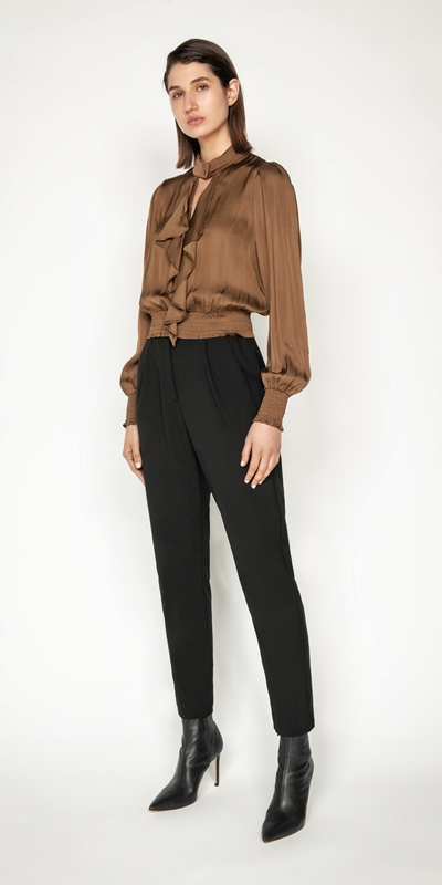 Tops and Shirts | Satin Cropped Frilled Blouse