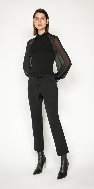 Tops and Shirts | Sheer Georgette Blouson Sleeve Knit