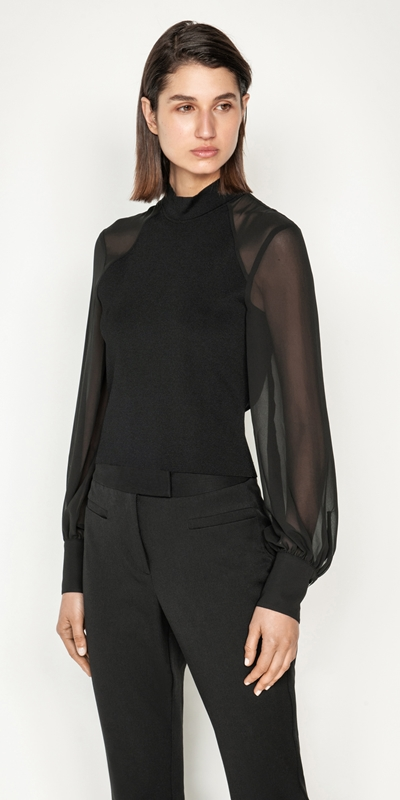 Cue Cares - Sustainable  | Sheer Georgette Blouson Sleeve Knit