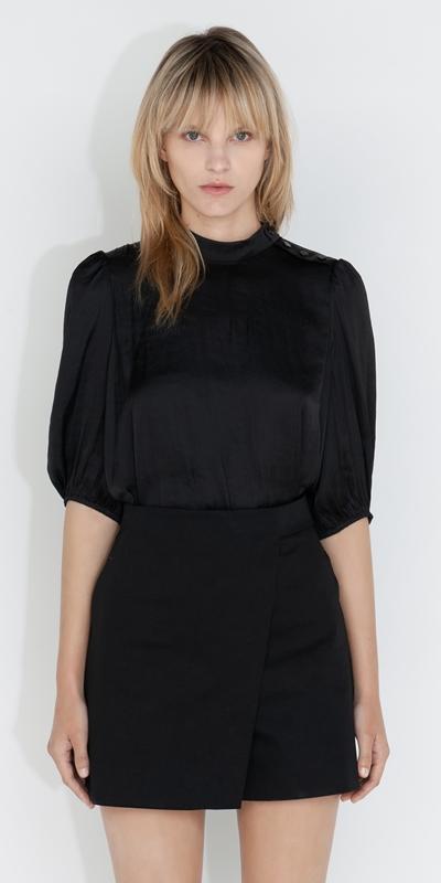 Tops and Shirts  | Satin Blouson Sleeve Top