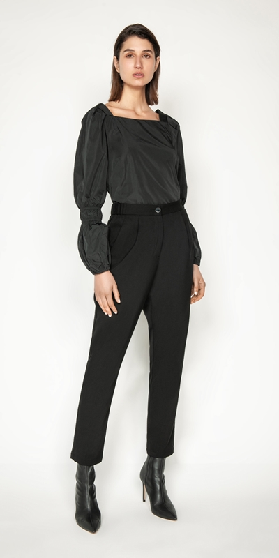 Tops and Shirts | Fine Faille Puff Sleeve Top