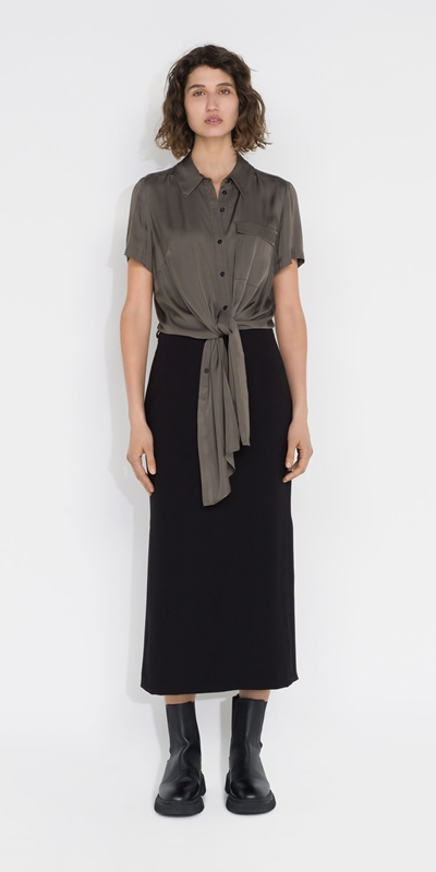 Tops and Shirts | Satin Tie Front Shirt