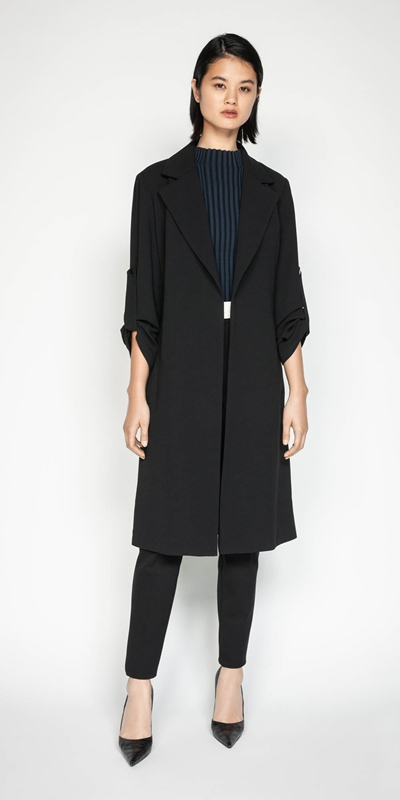 Work From Home | Crepe Trench Jacket