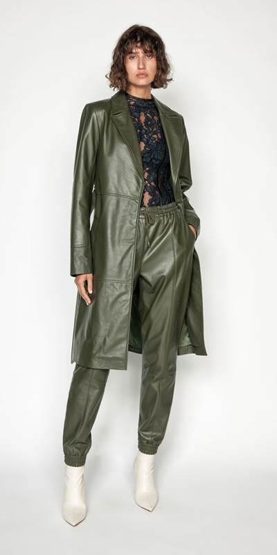 Cue Cares - Sustainable | Khaki Leather Trench