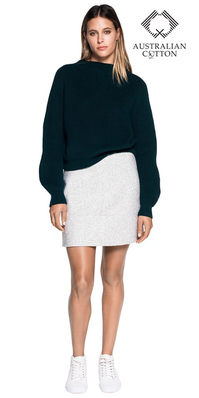 Tops | Exaggerated Sleeve Cotton Sweater