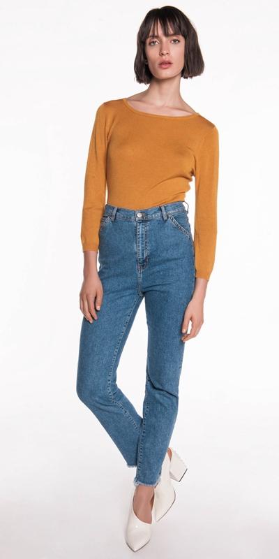Sale | 3/4 Sleeve Boat Neck Knit