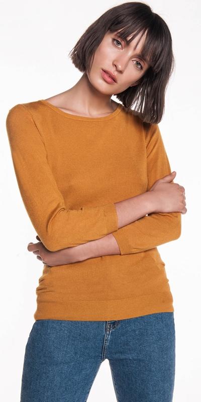 Knitwear  | 3/4 Sleeve Boat Neck Knit