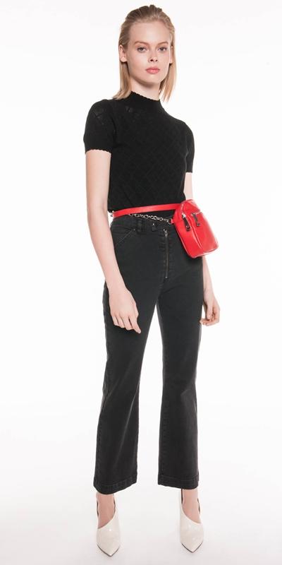 Knitwear | Pointelle Diamond Knit