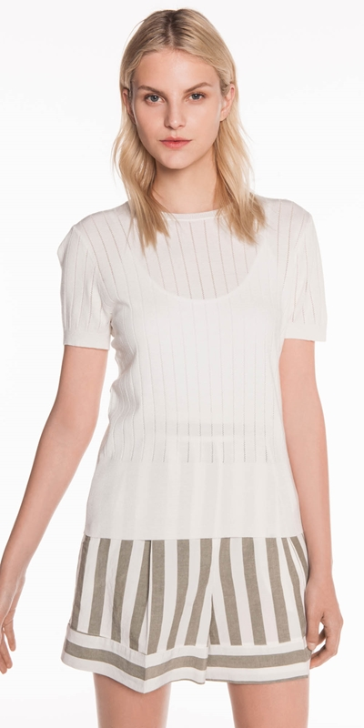 Tops  | Perforated Stripe Knit