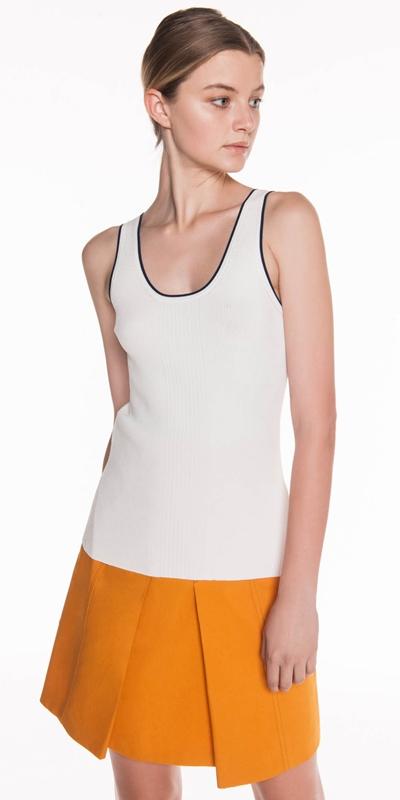 Knitwear | Contrast Stripe Rib Knit Tank