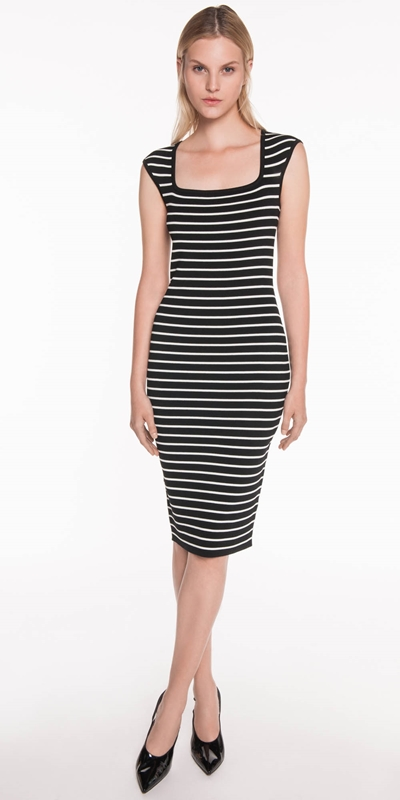 Dresses | Monochrome Stripe Knit Dress