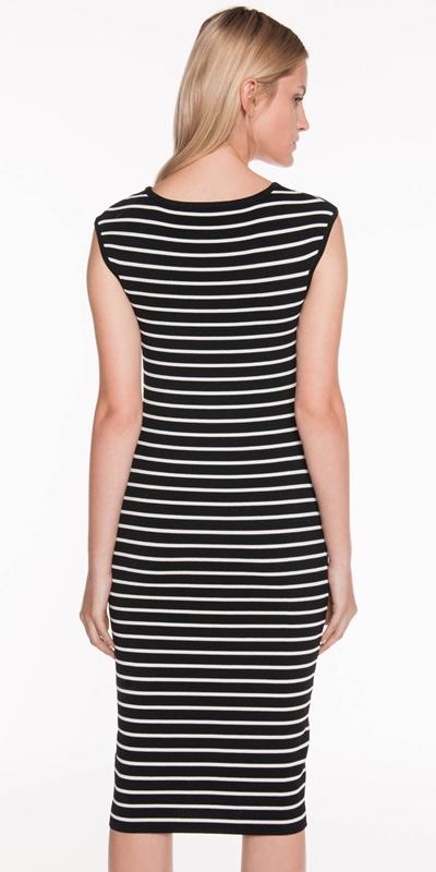 Knitwear   Monochrome Stripe Knit Dress