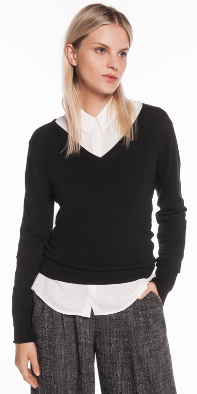 Tops  | V Neck Long Sleeve Knit