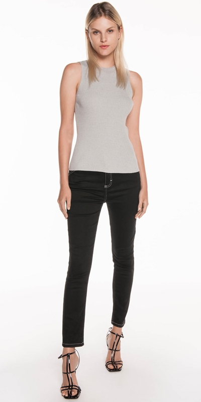 Tops | Ribbed Funnel Neck Tank